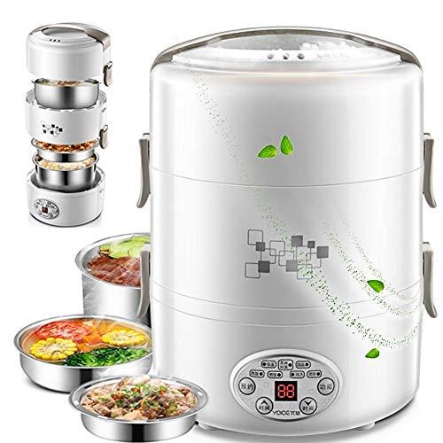 Fiambrera Eléctrica, Cocinar Arroz y Calentador de Comida,2L Comida Fiambrera Termica, Compartimentos...
