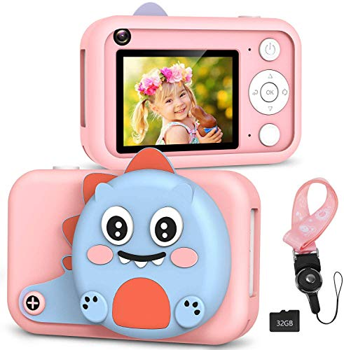 """RenFox Kids Camera - 16MP Digital Selfie Camera Toys Gifts for 3-12 Yeas Old Girls Boys, Rechargeable Shockproof 1080P Video Recorder Camcorder with 2.4"""" LCD Screen, 32GB SD Card & Lens Cover"""