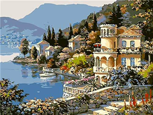 Schilderen, cijferset, steden aan het meer op doek, digitale olieverfschilderij, voor kantoor, decoratie thuis, 40 x 50 cm