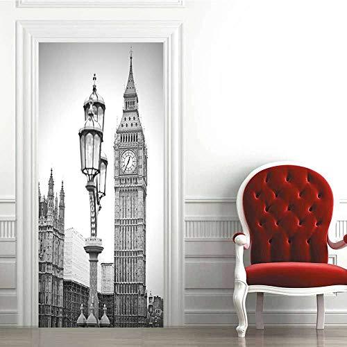 Pegatinas de Puerta 3D-Big Ben,Londres-Murales Autoadhesivos Decoración del Hogar Pegatinas de Pared PVC Pegatinas de Arte Dormitorio Sala de Estar Póster Extraíble 88x200cm