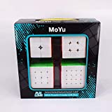 Liangcuber Moyu Meilong Stickerless Speed Cube Set, MoYu MeiLong Speedcubing Bundle 2x2 3x3 4x4 5x5 Stickerless Bright Magic Cube Puzzle