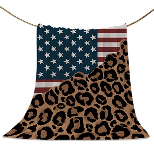 Throw Blankets USA Flag and Animal Skin Fuzzy Soft Bed Cover Bedspread Microfiber Luxury Blanket for Travel Stadium Camping Couch Sofa Chair Leopard Print