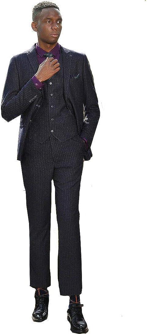 Michealboy Mens Suit 3 Piece Slim Fit Black 2 Buttons Tuxedo Jacket Vest Pants