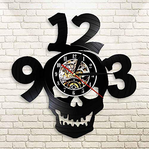 FDGFDG Halloween Schädel Big Numbers Laser Cut Vinyl LP Wanduhr saat Skeleton Head Devil Demon LED Nachtlicht