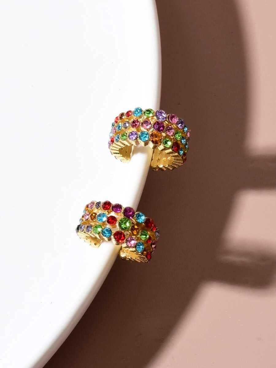 Sensecrol Hoop Earrings 2pcs Rhinestone Decor Ear Cuff (Color : Multicolor)