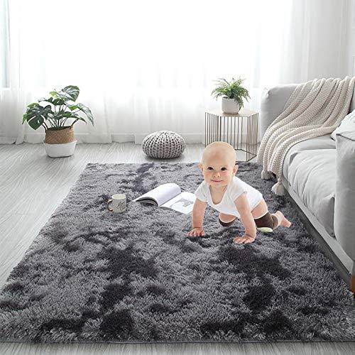 Luxus Hochflor Shag Bereich Teppich Für Baby,Maschinenwäsche Geeignet Teppich Für Schlafzimmer Wohnzimmer Mädchen Kinder Kindergarten,Extra Weich Und Bequem Teppich-Dunkelgrau 79x79inch(200x200cm)