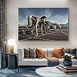 Chica atleta carrera con pintura de pared de guepardo en lienzo carteles e impresiones Animal corriendo imagen artística para decoración de sala de estar 30x45 CM (sin marco)