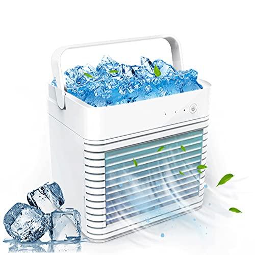 YESMAN Ventilatore portatile per condizionatore d'aria, ricaricabile USB, mini condizionatore d'aria evaporativo con 7 colori LED, 3 velocità umidificatore nebulizzatore per casa, ufficio, stanza