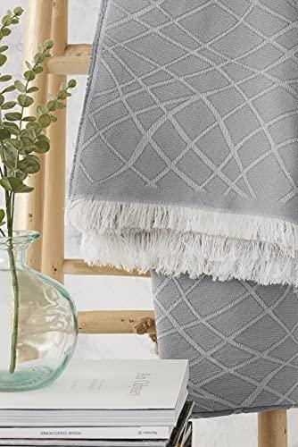 Textilhome - Funda Multiusos Foulard Cubre Cama Martina - 230x285 cm - para Funda Sofa 3 Plazas, Protector Cubre Sofa. Color Gris