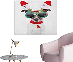 Anzhutwelve Christmas Art Stickers Funny Puppy Jack Russel Dog with Hilarious Sunglasses Santa Figures and Bell Custom Poster Multicolor W36 xL24