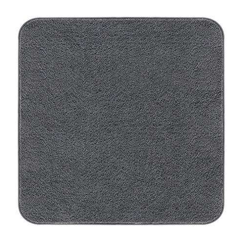 VANZAVANZU Badematte rutschfest Quadrat Badteppich Verdickt Badezimmerteppich Weich Badeteppich Flauschige Mikrofaser Badvorleger, Supersaugfähig - 80 x 80cm (Dunkelgrau)