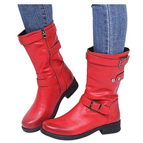 Woolkey Short Mid Calf Boots for Women Round Toe Mid Chunky Heel Solid Color Retro Zipper Buckle Warm Work Knight Middle Boots for Ladies Autumn Winter Street Party Riding Travel (Red, 8.5)