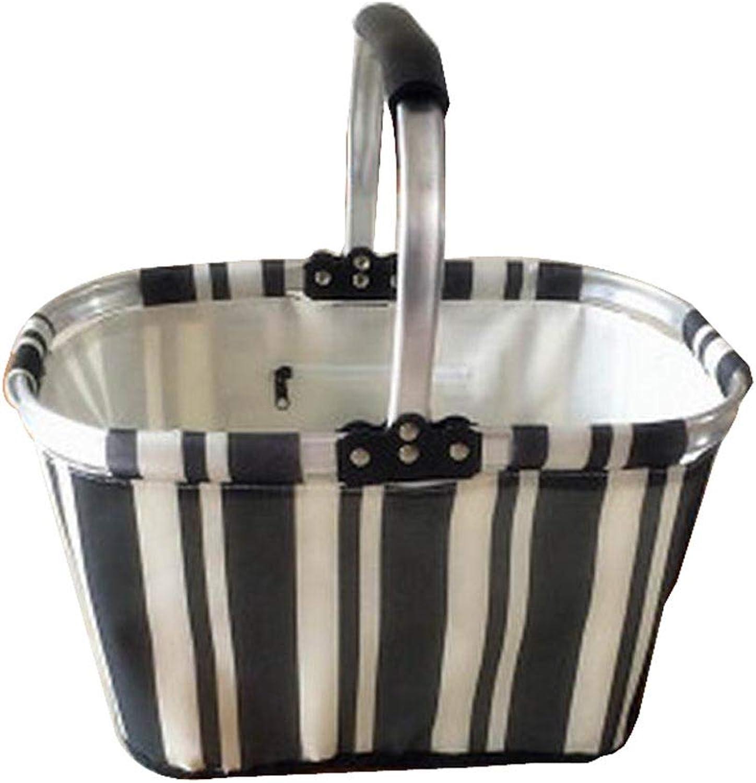 [Stripe4] Collapsible Picnic Basket Foldable Shopping Basket Market Basket