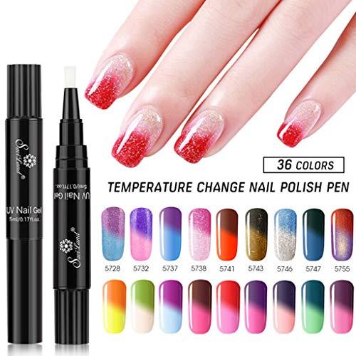 RIXTHY Esmalte de Uñas Semipermanente Lápiz Pintauñas de Un Paso de Gel UV/LED Cambio de Temperatura con Gradiente 3 en 1 Base y Top Coat para Nail Art para Manicura y Pedicura (D)