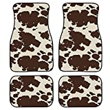 Wanyint Brown Cow Animal Print Car Floor Mat Full Set for Front & Rear, Universal Fit SUV Trunk Sedans Liners Carpet, All Weather Heavy Duty Floor Protection Carpets