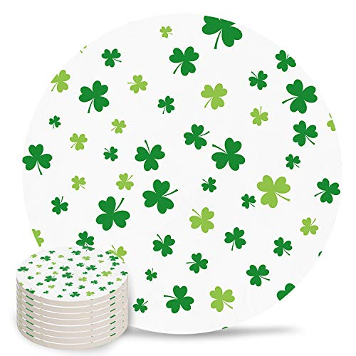 Drink Coasters Celtic Knots Lucky Shamrock For Happy St. Patrick's Day, Absorbent Stone Ceramic Round Coaster for Drinks 8PCS White Mugs Cup Mats for Kitchen Table Bar Coffee Desk