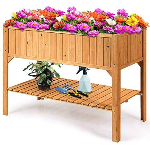 DREAMADE Hochbeet Holz, Pflanzbeet Pflanzgefäße für Garten, Pflanzkübel Pflanzkasten Pflanztrog, 119 x 57 x 90cm