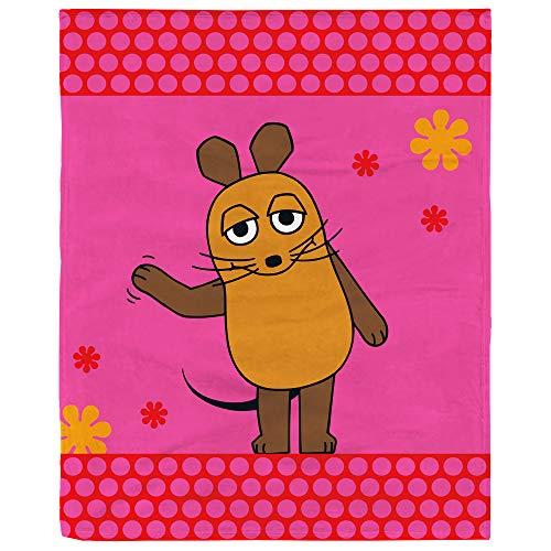 BERONAGE Die Sendung mit der Maus Decke Maus Flower Rosa/Pink 130 cm x 160 cm Flanelldecke Fleecedecke Kuscheldecke zur Bettwäsche - kuschelweich