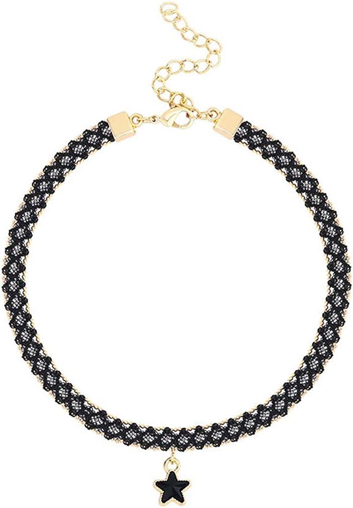 YAZILIND Women Gothic Adjustable Black Star Pendant Necklace Neckband Collar Choker for Halloween Christmas Valentine's Day