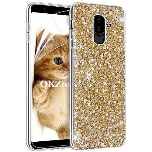 OKZone Funda Samsung Galaxy A6 Plus 2018 Carcasa Purpurina, Cárcasa Brilla Glitter Brillante TPU Silicona Teléfono Smartphone Funda Móvil Case para Samsung Galaxy A6 Plus 2018 (Oro)