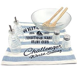 Makeke Box Salat-Set (8 tlg.) – Salatschüssel aus Glas (30cm), Salz- & Pfefferstreuer, Öl- & Essigkännchen, Salatbesteck aus Holz, Baumwoll-Tischläufer (Tischläufer in Blau)