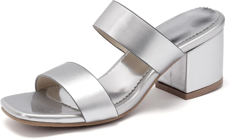 Women's Chic Square Toe Mules Block Mid Heel Double Straps Slide Sandals Backless Summer Dress Slippers Slides