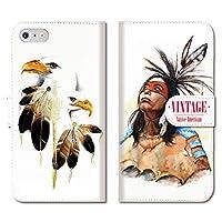 301-sanmaruichi- iPhone 12Pro ケース 手帳型 iPhone12 pro 手帳型 PUレザー おしゃれ VINTAGE Native American art ネイティブ アート フェザー B 手帳ケース