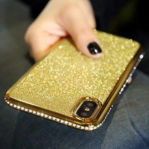 LIUYAWEI Estuche Brillante con Purpurina de Diamante para Redmi 9 8 8A 9A 9AT 9C NFC Note 9S 8T 8 9 Pro MAX Funda de TPU Suave, Dorado, para Redmi 8A