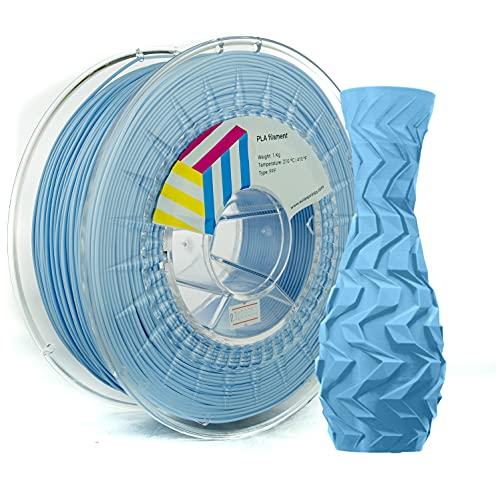 Eolas Prints | Filamento PLA 1.75 | Impresora 3D | Fabricado en España | Apto para uso alimentario y crear juguetes y envases | 1,75mm | 1Kg | Azul Claro
