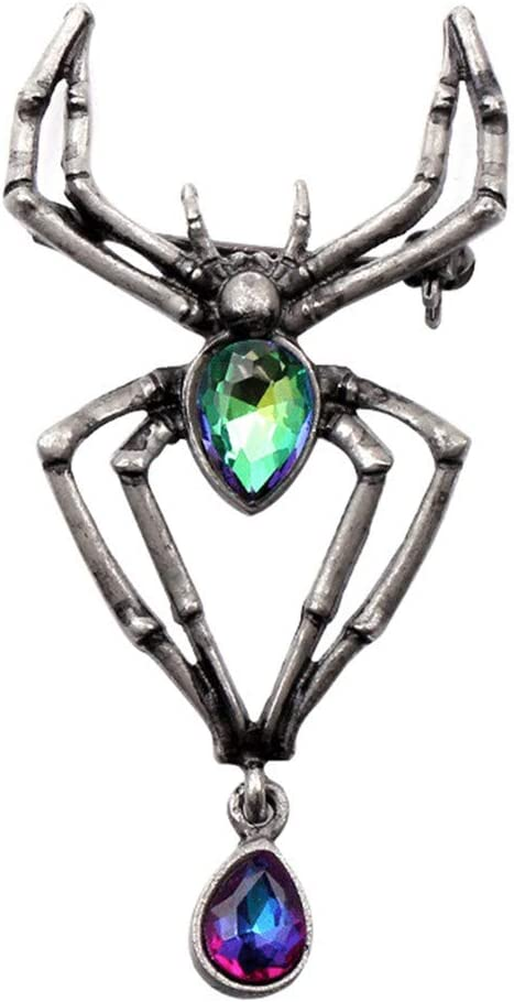 Underleaf Punk Design Cute Animal Spider Brooch Badges Crystal Glass Pin Women Clothes Sweater Jewelry Halloween Gift