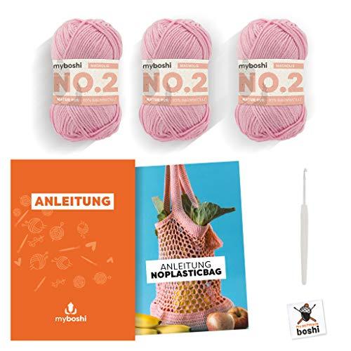 myboshi Häkel-Set NoPlasticBag | aus No.2 | Anleitung + Wolle | mit Häkelnadel | Taschen-Häkel-Set | 2380 Magnolie