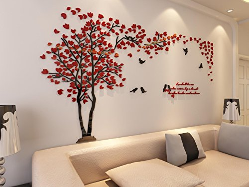 3d Couple Tree Wall Murals for Living Room Bedroom Sofa Backdrop Tv Wall Background, Originality Stickers Gift, DIY Wall Decal Home Decor Art Decorations (Small, Red)
