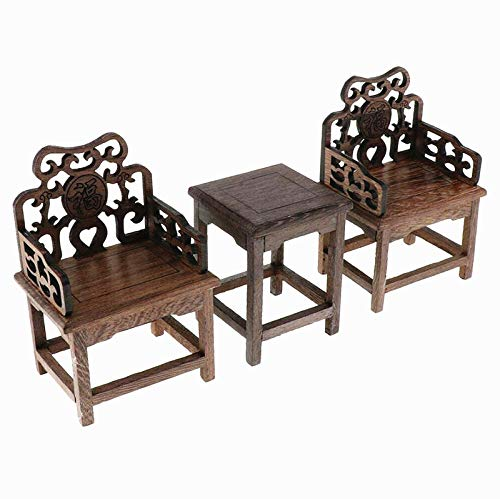EatingBiting 1:6 Dollhouse Miniature Handcraft Furniture Retro Wood Square Table Armchairs 3 Pieces Dollhouse Furniture Miniatures - 1:6 Scale 3pcs Rosewood Table and Chairs Set,Toys Action Figures