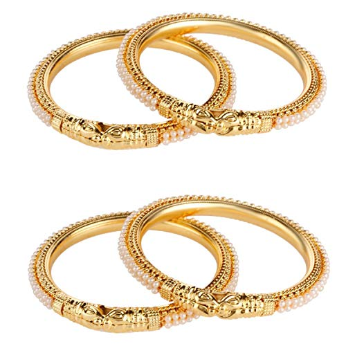 Efulgenz Fashion Jewelry Indian Bollywood 14 K Gold Plated Faux Pearl Bracelets Bangle Set for Women white