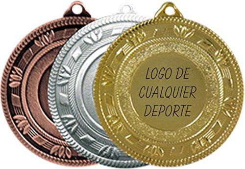 Medallas deportivas GRABADAS oro plata o bronce con cinta PERSONALIZADAS (pack 10 unidades) fútbol, baloncesto, gimnasia, tenis, atletismo, ciclismo, judo, karate, natación.etc (BRONCE)