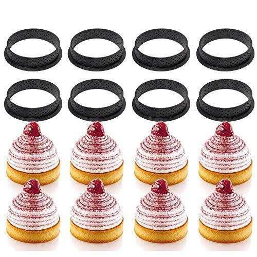 KKTICK 10 piezas de anillo circular de Mousse molde redondo de plástico para tartas, molde de mousse perforado, antiadherente, herramienta de hornear postre, para hacer mousse, pasteles, quiche
