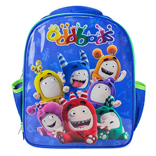 Oddbods Blue Backpack for Kids' School & Travel - Small, Insulated Children's Bookbag for Preschool, Kindergarten & Elementary School, Room for Lunchbox, Notebooks & More, Includes Two Side Pockets