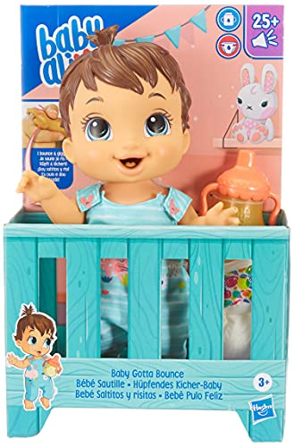 Baby Alive Baby Gotta Bounce Doll, Bunny Outfit, Bounces with 25+ SFX and Giggles, Drinks and Wets, Brown Hair Toy for Kids Ages 3 and Up