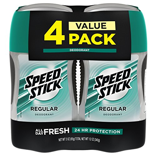 Speed Stick Deodorant for Men, Aluminum Free, Regular - 3 Ounce (4 Pack)