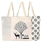 3 Pack Reusable Grocery Shopping Tote Bags, Canvas Totes Bag Shopping Bag Groceries Bags with Handles, Foldable Bags for Grocery Shopper Produce Storage Beach Toys Vegetable (Off-white)