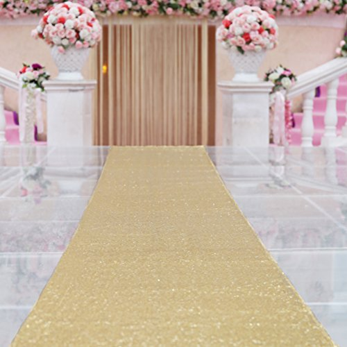 TRLYC 24Inch by 15FT Wedding Sequin Aisle Runner Marriage Ceremony Bridal Carpet Wedding Aisle Runner Outdoor Wedding Aisle Runner-Gold