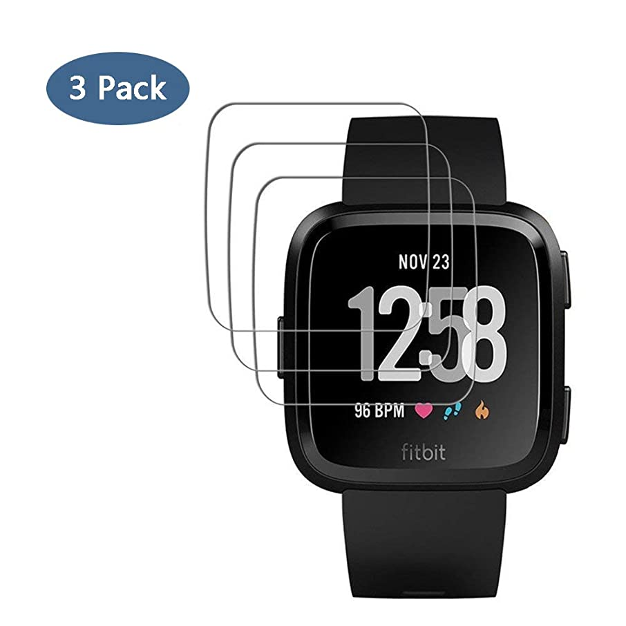 [3 Pack] Fitbit Versa Tempered Glass Screen Protector, Tourist 9H Hardness Ultra Clear Scratch Resistant Anti-Bubble Easy Install Screen Protector for Fitbit Versa Smart Fitness Watch Tracker