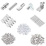 HELIFOUNER 100 Pieces 5 Styles Shelf Pins Kit, Top Quality Nickel Plated Shelf Bracket Pegs Cabinet Furniture Shelf Pins Support for Shelf Holes on Cabinets, Bookcases, Entertainment Centers