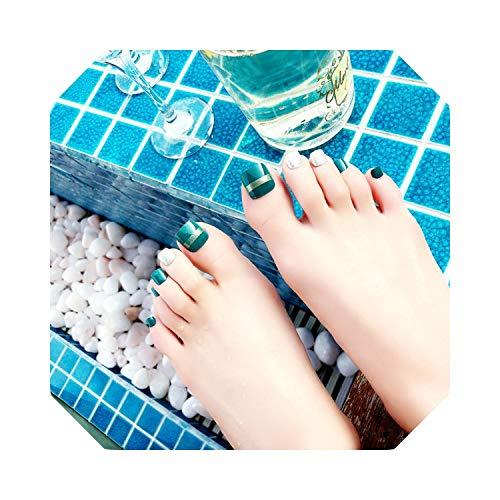 False Toe Nail 24 Sheet/set Fake Onenail Appuyez sur les conseils Manucure Foot Wear Nail Stickers Glue-J82 24 Sheet-