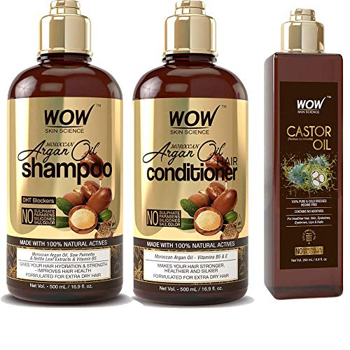 WOW Moroccan Argan Oil Shampoo and Conditioner & Castor Oil - Enhanced Moisture For Natural Hair Growth & Scalp Moisturization To Reduce Dandruff Flakes & Split Ends - Sulfate, Paraben Free, Salt Free