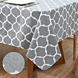 Smiry Waterproof Vinyl Tablecloth, Non Slip Flannel Backing Rectangle Table Cover, Spill-Proof...