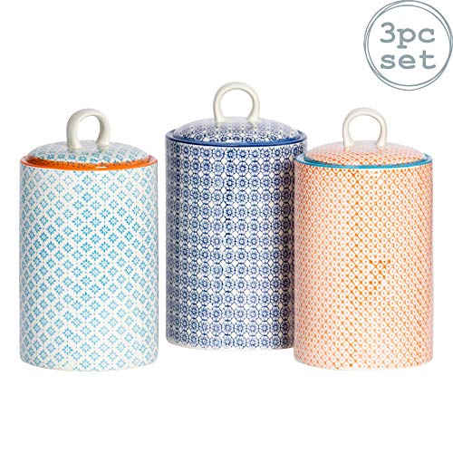 Nicola Spring 3pc Hand-Printed Tea Coffee Sugar Canister Set - Porcelain Kitchen Storage Canisters - 3 Colours - 1L