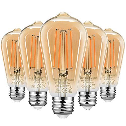 Defurhome Edison LED Vintage Glühbirne, E27 ST58 Warmweiß(2500K), 800 Lumen, 6W (ersetzt 60W) Ideal für Nostalgie und Retro Beleuchtung im Haus Café Bar- 5 Stück