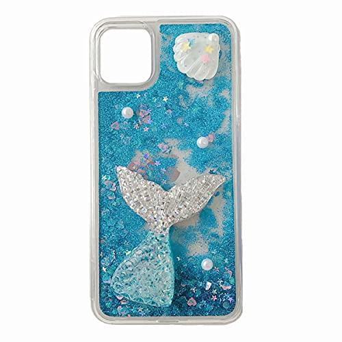 TYWZ Liquido Sabbie Custodia per iPhone 6S Plus/6 Plus,3D Fatto a Mano Carino Glitter Cover Brillantini Silicone Case-Blu Sirena
