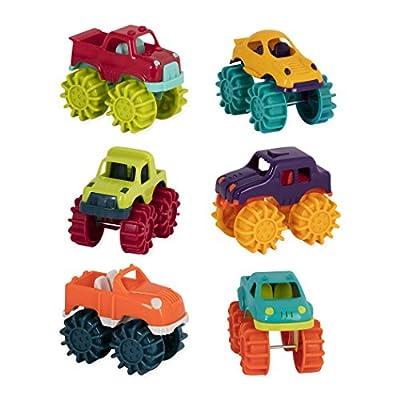 Battat Mini Monster Trucks ? Set of 6 Mini Trucks for Toddlers in Storage Bag for 2 years +